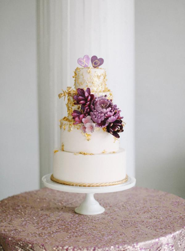 Purple And Gold Wedding Cake Elizabeth Anne Designs The