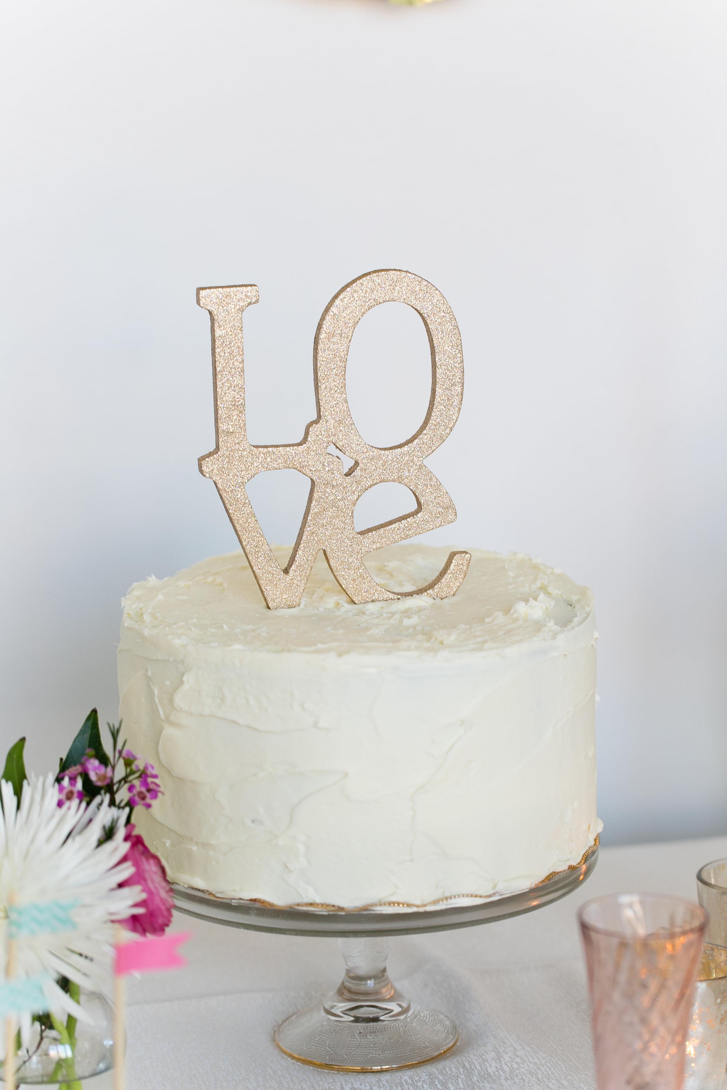 Gold Glitter Love Wedding Cake Topper Elizabeth Anne