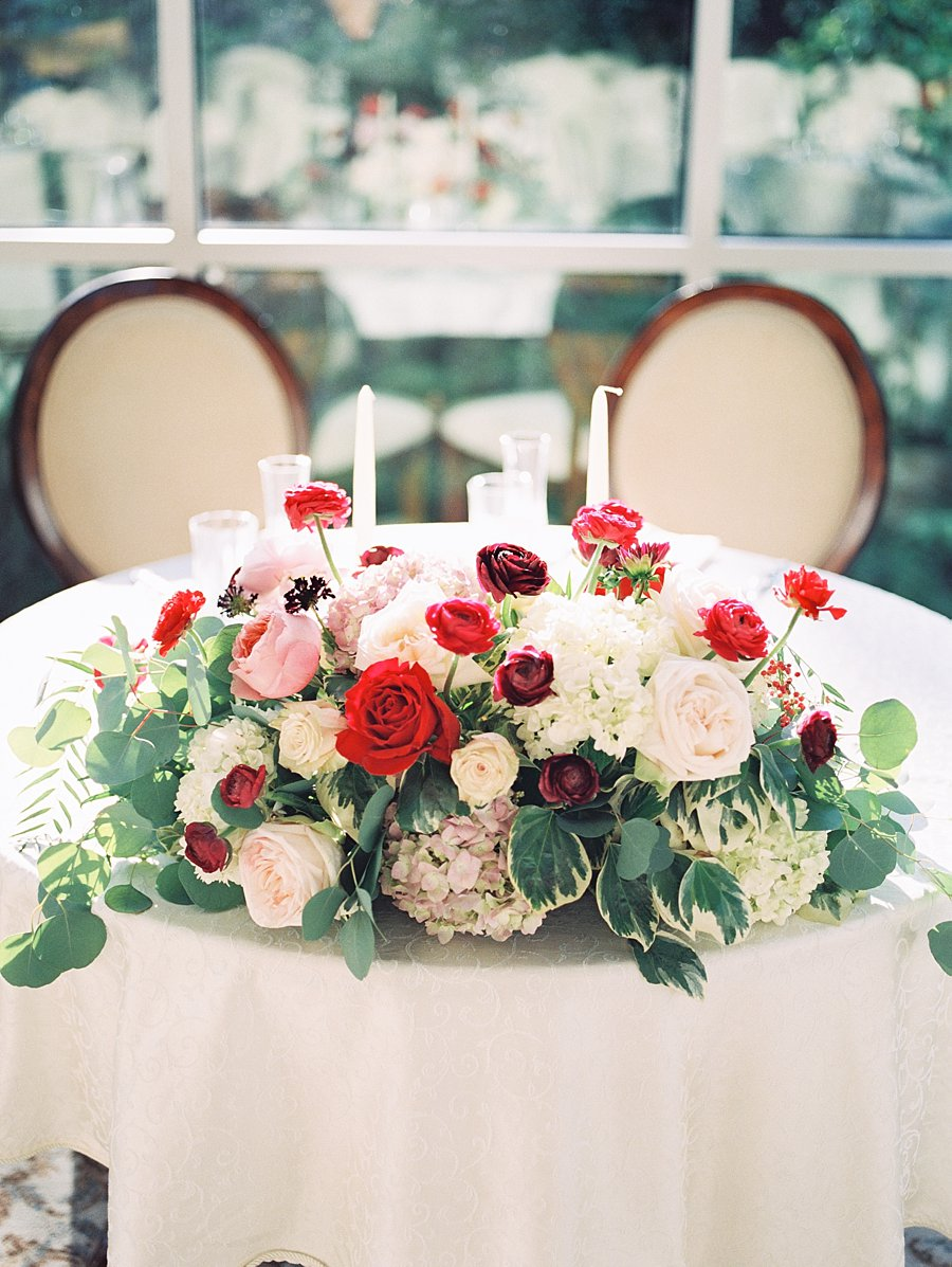 Sweetheart Table With Red And White Flowers Elizabeth
