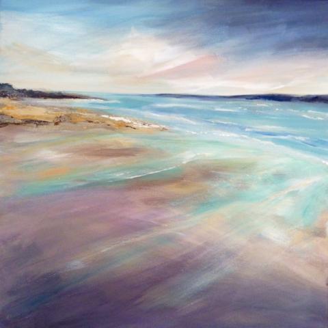 Oil painting of a windswept beach by Elizabeth Baldin