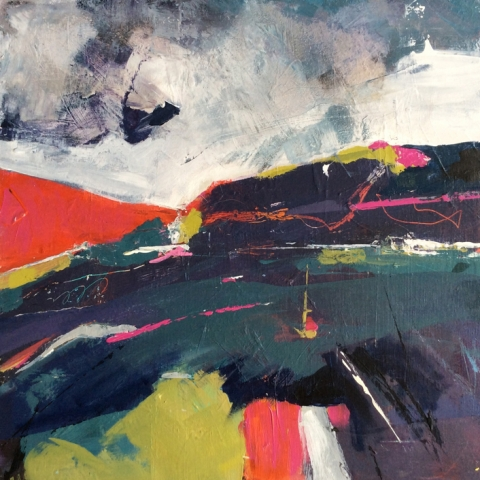 Abstract mixed media landscape painting by Elizabeth Baldin