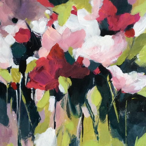 Abstract mixed media floral painting by Elizabeth Baldin