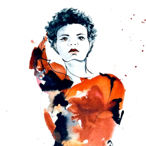 Contemporary figure drawing in red and black ink by Elizabeth Baldin