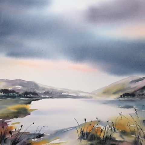 Watercolour and ink landscape painting by Elizabeth Baldin