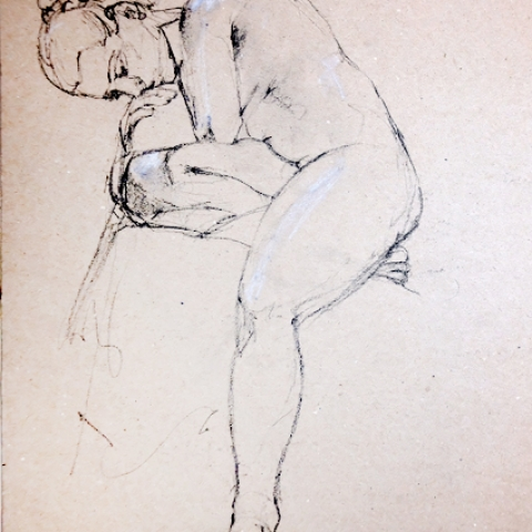 Female figure drawing in charcoal and chalk