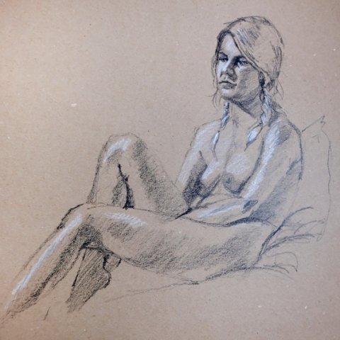 Female figure in charcoal and chalk