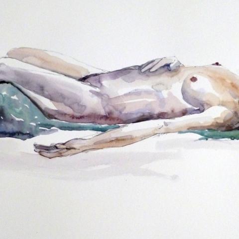 Watercolour sketch of reclining female figure