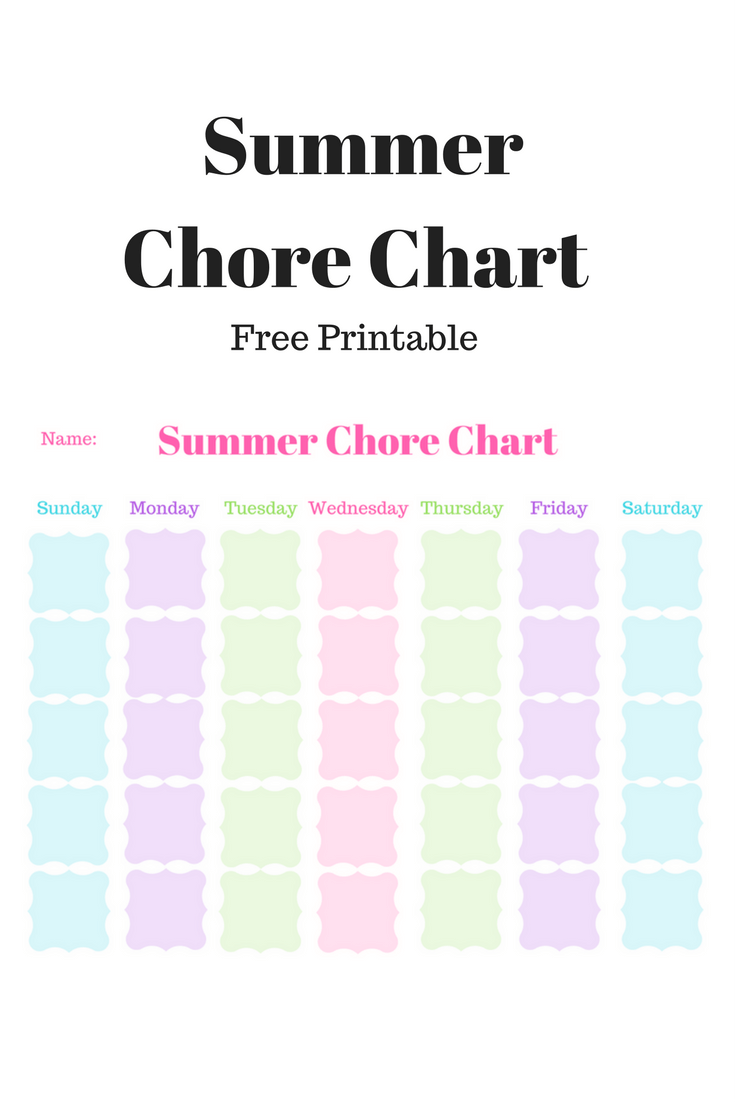 image regarding Summer Chore Chart Printable called Summertime Chore Chart