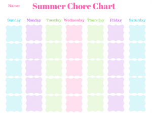 picture about Summer Chore Chart Printable named Summer time Chore Chart