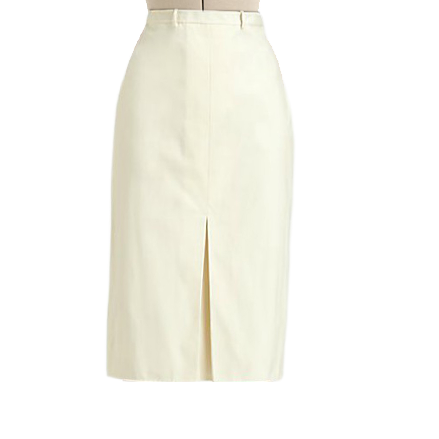 Cream Straight Skirt With Inverted Pleat Custom Fit