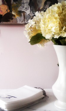 Powder room in Calamine by Farrow and Ball
