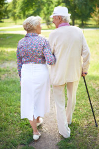 Back view of happy senior couple talking while taking a walk in the park