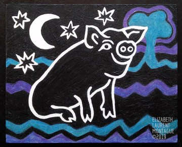 Painting of Pig smiling at night