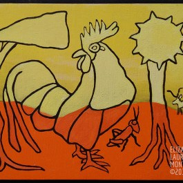 Painting of Rooster with abstract trees