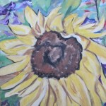 a painting of a sunflower done in acrylic paint