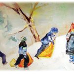 oil painting gallery - Winter figurative oil painting