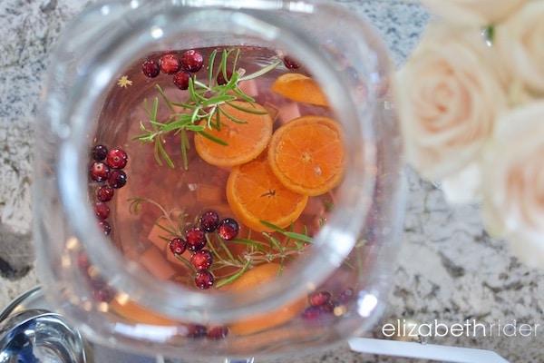 christmas white wine sangria with rosemary