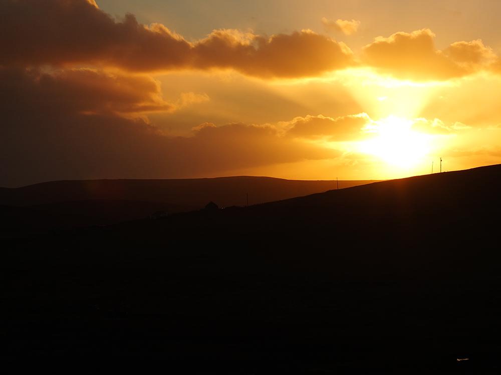 Birthday Sunset at 3 pm in Shetland