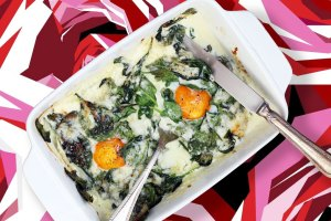 creamed spinach, spinach, creamed baby spinach, baked spinach, spinach with eggs, baked creamed spinach with eggs