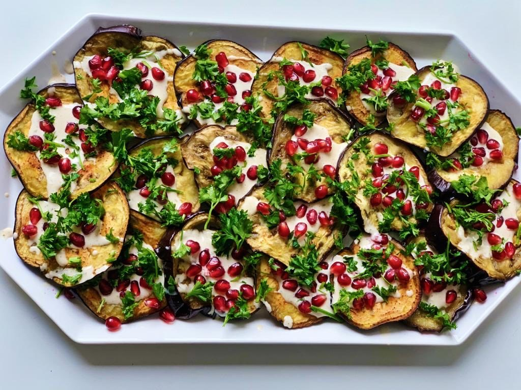 roasted eggplant, tahini sauce, roasted eggplant with tahini, roasted eggplant with pomegranate