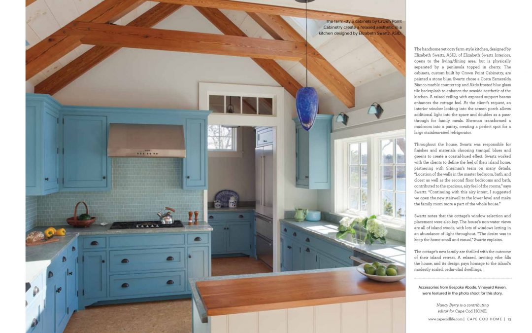 Cape Cod Home   Elizabeth Swartz Interiors Seventh and eight pages of article in Cape Cod Home called  Cottage Charms   featuring