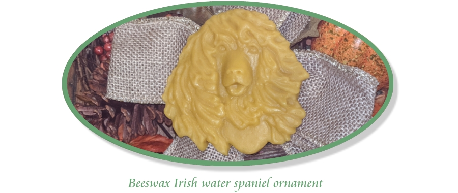 Natural beeswax Irish water spaniel ornament