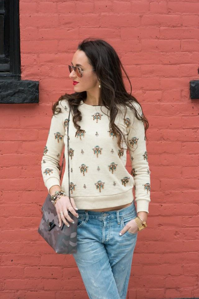 The Village Vogue - J. Crew Embellished Sweatshirt
