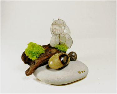 Composition végétale en bois, graines, plantes séchées, mousse et minéraux