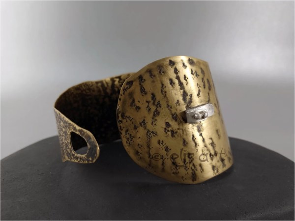 Etched brass cuff with silver by Elizart