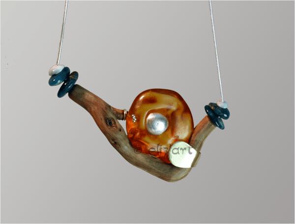 Collier vibratoire en ambre, larimar, apatite bleue, bois et argent par Eliz'art