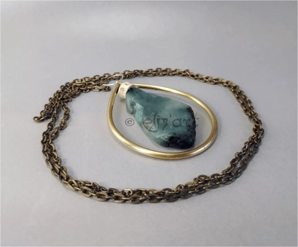 Boho pendant made with brass, emerald, silver and natural beads, by Eliz'art
