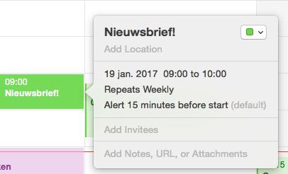 planning nieuwsbrief