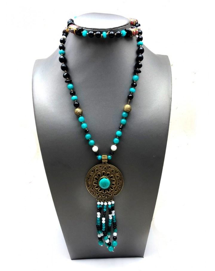 Collares mujer largos etnicos con colgante de bronce y cuentas artesanales  | collares el jardin del deseo s. l