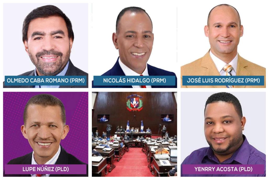 los diputados Olmedo Caba Romano (PRM), Lupe Núñez (PLD), José Luis Rodríguez (PRM), Nicolas Hidalgo (PRM) y Yenrry Acosta (PLD).