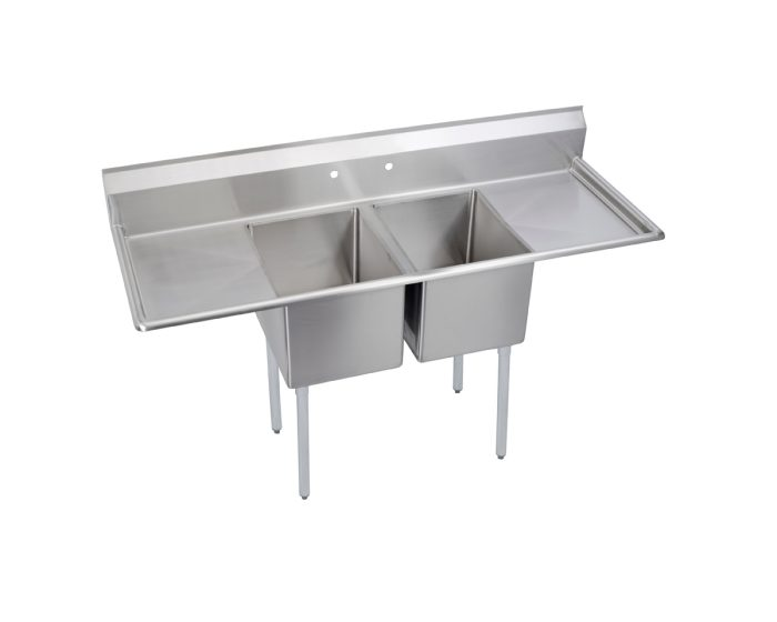 elkay dependabilt stainless steel 70 x 25 13 16 x 43 3 4 16 gauge two compartment sink w 18 left and right drainboards and stainless steel legs