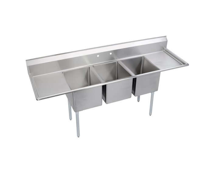 elkay dependabilt stainless steel 106 x 29 13 16 x 43 3 4 16 gauge three compartment sink w 24 left and right drainboards stainless steel legs