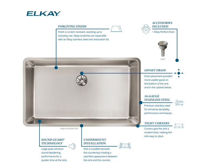 elkay lustertone iconix 16 gauge stainless steel 32 1 2 x 19 1 2 x 9 single bowl undermount sink with perfect drain