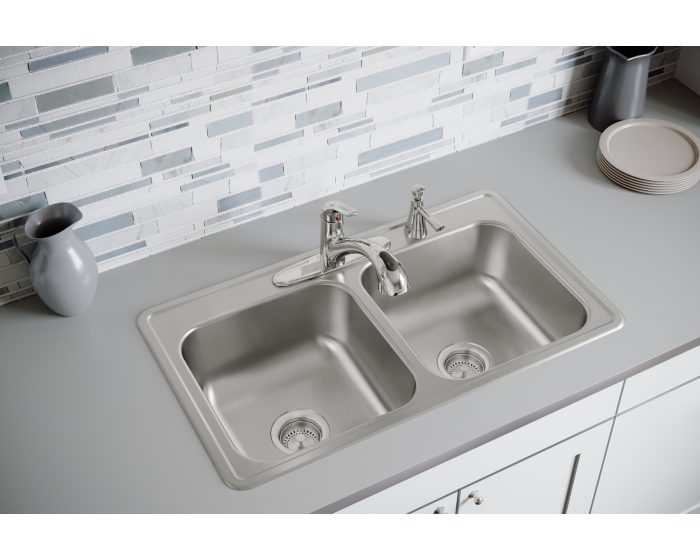 dayton stainless steel 33 x 19 x 8 equal double bowl drop in sink