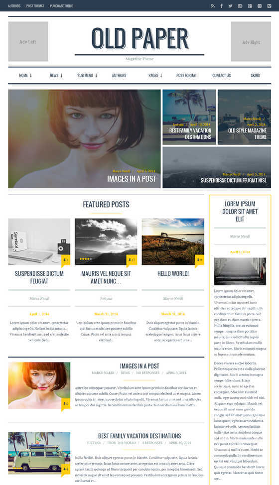 OldPaper Magazine Blog Theme