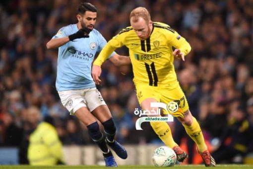 مانشستر سيتي 9 -0 بيرتن ألبيون : محرز تمريرتان حاسمتان و هدف 24