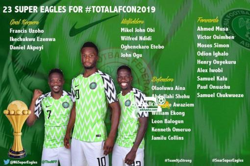 قائمة منتخب نيجيريا الرسمية لكأس أمم إفريقيا مصر 2019 24