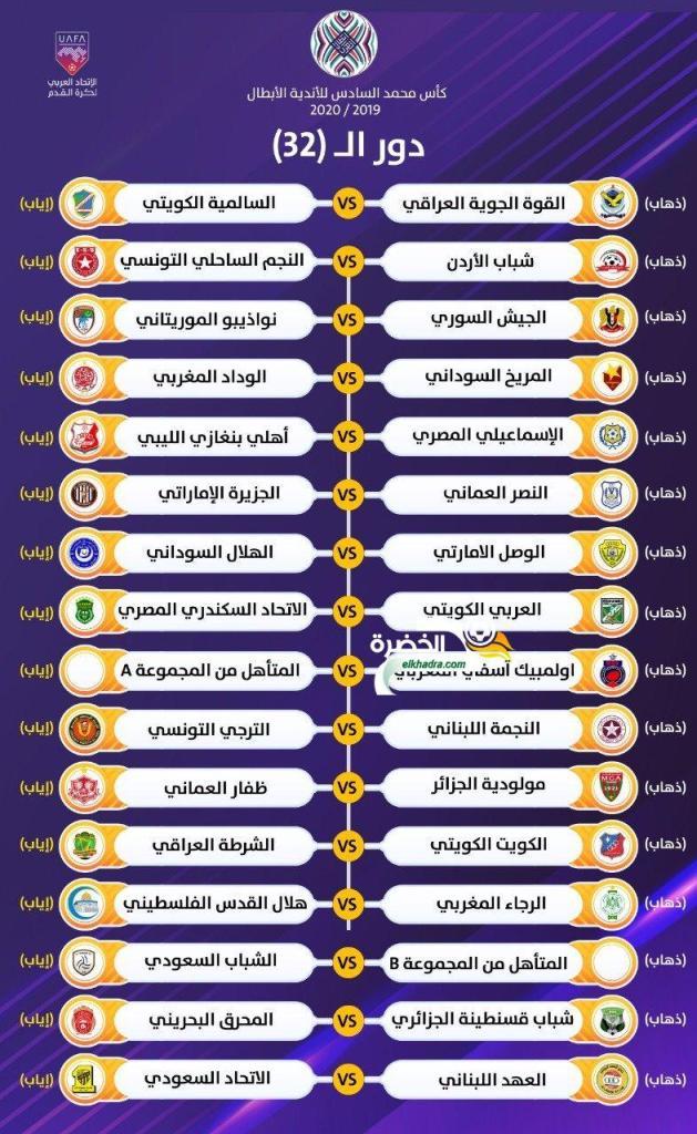 قرعة دور الـ32 من البطولة العربية 25