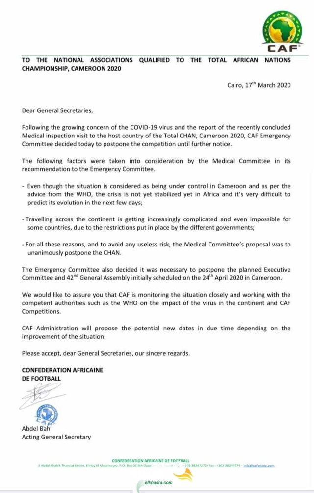 رسميا: الإتحاد الإفريقي يعلن عن تأجيل بطولة كأس إفريقيا للمحليين بسبب فيروس كورونا 25