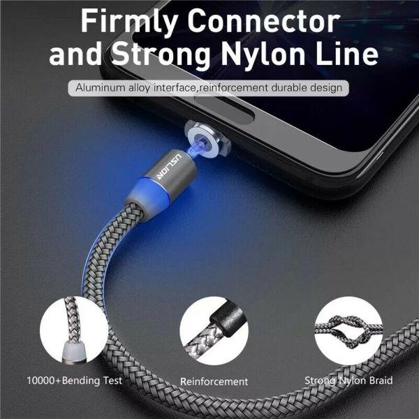 USB C kabel med magnetplugg og indikator lampe (Enkel tilkobling/lading!) USBmagnet1