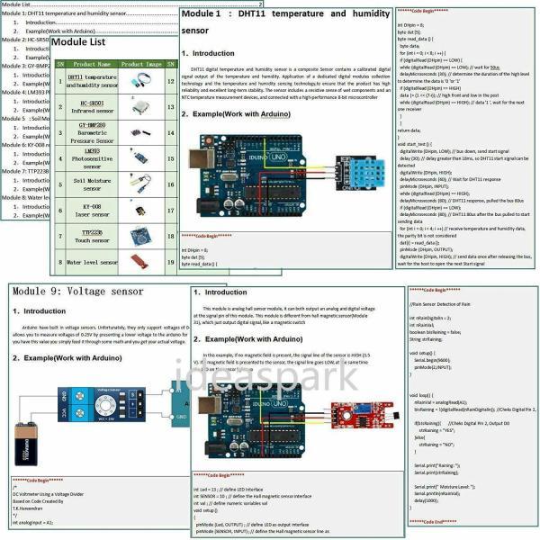 Arduino Kit med 22 sensormoduler - Sensor Modules Kit for Arduino, NodeMCU, Raspberry Pi osv (ideaSpark) kit22sensor03