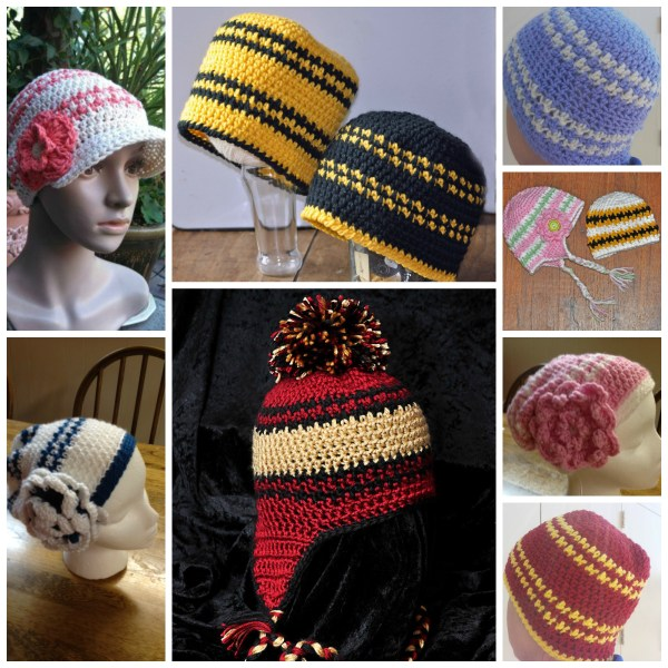 Houndstooth Beanie Free pattern collage by ELK Studio