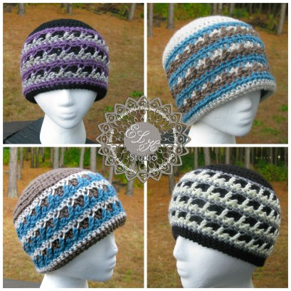 Winter Fury Collage beanie pattern by ELK Studio