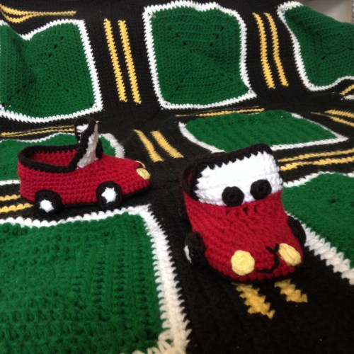 "Car Slippers by Julia Fae Crochet.  Submission for ""Making it thru Monday"" Submission hosted by ELK Studio"