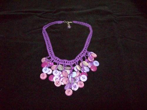 Crochet Button Necklace, purple mixed.1 ($18.00)