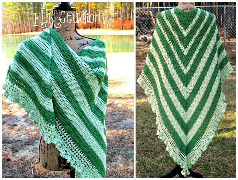 Perfectly Simple Elegance Shawl by ELK Studio Handcrafted Crochet Designs #free pattern #crochetpattern